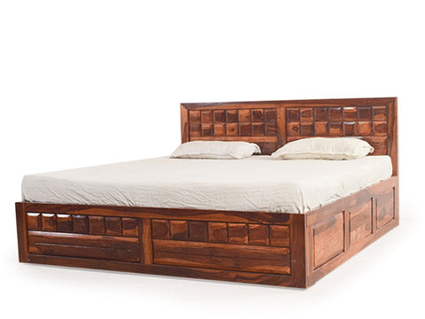 Mamta Decoration Solid Sheesham Wood King Size Bed With Pull Out Drawer Storage In Teak Finish - Mamtadecoration
