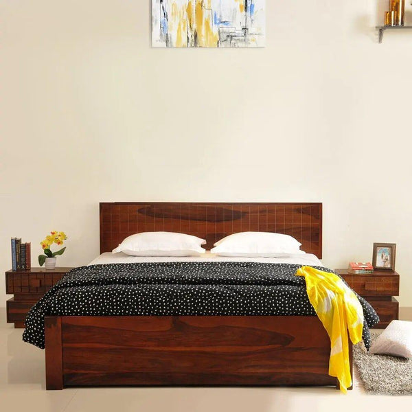 Mamta Decotration Solidwood King Bed With Drawer Storage- Honey Finesh