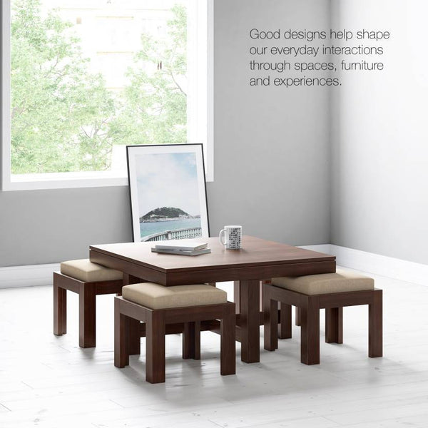 Mamta Decoration Solid Sheesham wood Coffee Table With 4 Stools