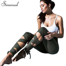 Simenual Lace up strappy leggings women fitness slim sexy bandage summer legging sportswear athleisure elastic jeggings pants