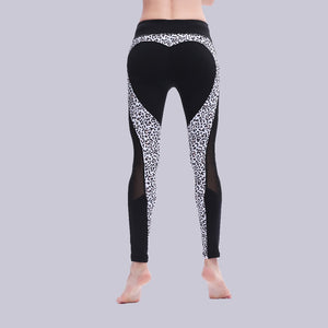 Heart Pattern Mesh Splice Leopard Legging Harajuku Athleisure Fitness Clothing Sportswear Elastic Push Up Leggings Women Pants