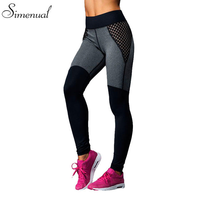 Hot sale mesh splice fitness leggings trousers for women athleisure 2018 jeggings grey black slim legging pants female elastic