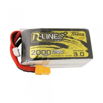 LONG RANGE Tattu R-Line Version 3.0 2000mAh 14.8V 120C 4S1P Lipo Battery Pack with XT60 Plug