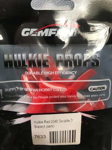 Gemfan Hulkie Red 2040 Durable 3 Blade - Set of 8 (4CW, 4CCW)