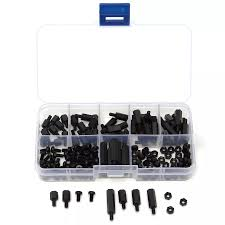 Standoff Plastic M3NH5 180Pcs M3 Nylon Screw Black Hex Screw Nut PCB Standoff Spacer Column Assortment Kit