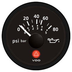 VDO Viewline Onyx 80 PSI-5 Bar Oil Pressure Gauge 12-24V - Use with VDO Sender
