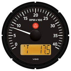 "VDO Viewline Onyx 4,000 RPM 3-3-8"" (85mm) Marine Tachometer w-2 Hourmeters, Clock and Voltmeter - 12-24V"