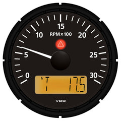 "VDO Viewline Onyx 3,000 RPM 3-3-8"" (85mm) Tachometer w-2 Hourmeters, Clock and Voltmeter - 12-24V"