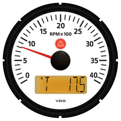 "VDO Viewline Ivory 4,000 RPM 3-3-8"" (85mm) Marine Tachometer w-2 Hourmeters, Clock and Voltmeter - 12-24V"