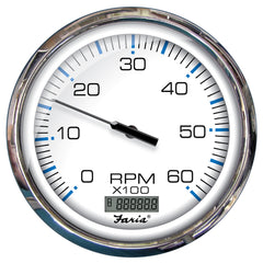 "Faria 5"" Tachometer-Digital Hourmeter Gauge Chesapeake White w-Stainless Steel Bezel - Bulk"