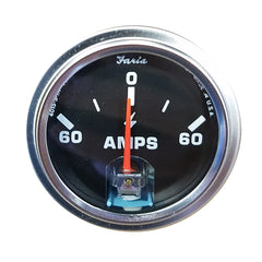 Faria Amp Gauge - Black w-Stainless Steel Bezel