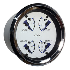 VDO Allentare 4 In 1 Gauge - 85mm - White Dial-Blue Pointer - Oil Pressure, Water Temp, Fuel Level, Voltmeter - Chrome Bezel