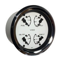 VDO Allentare 4 In 1 Gauge - 85mm - White Dial-Black Pointer - Oil Pressure, Water Temp, Fuel Level, Voltmeter - Chrome Bezel