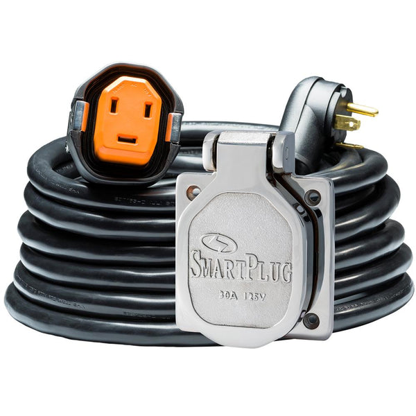 SmartPlug 30 Amp RV Kit 30' Dual Configuration Cordset - Black (SPX X Park Power) & Stainless Steel Inlet
