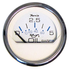 "Faria 2"" Oil Pressure Gauge 5 Bar Metric - Chesapeake White - Stainless Steel Bezel"