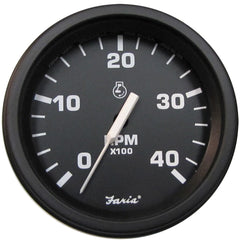 "Faria 4"" Heavy-Duty Tachometer (4000 RPM) (Diesel) Mag Pick-Up - Black w-Black Bezel"