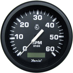 "Faria 4"" Heavy-Duty Tachometer w-Hourmeter (6000 RPM) Gas - Black *Bulk Case of 12*"