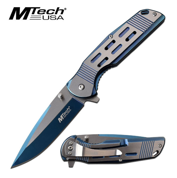 MTech USA Assisted 3.5 in Blade Blue Stainless Handle
