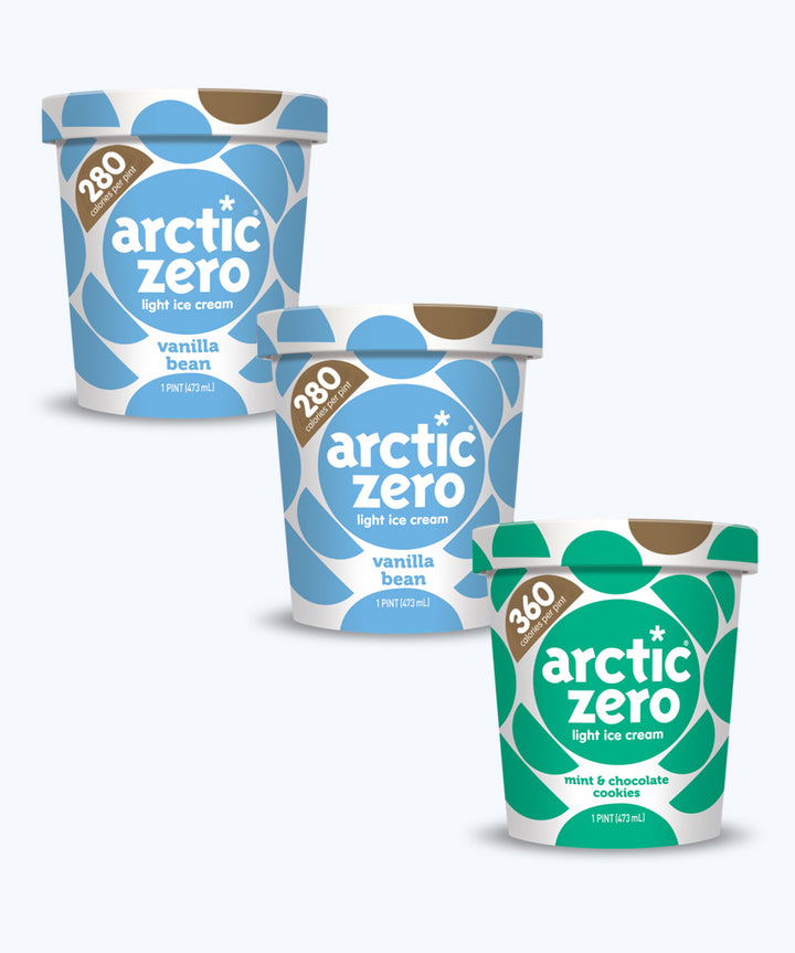 Arctic Zero Promotion - 3 Pints (Vanilla Bean - Mint & Chocolate Cookies)
