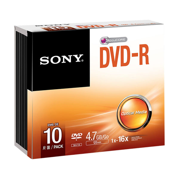 Sony DVD-R 4.7GB Branded - Slim Case (10 Pack)