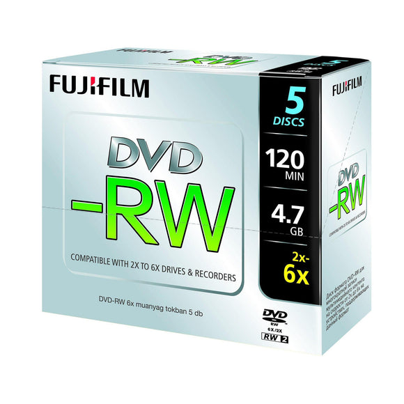FUJIFILM DVD-RW 4.7GB Branded - Standard Case (5 Pack)