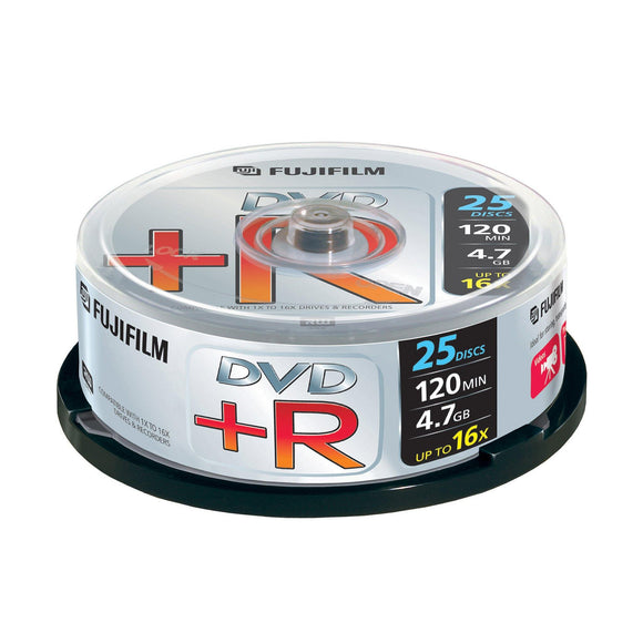 FUJIFILM DVD+R 4.7GB Branded - 25 Cakebox - PMD Magnetics