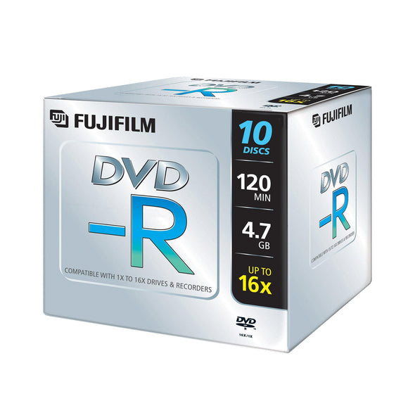 FUJIFILM DVD-R 4.7GB Branded - Standard Case (10 Pack)