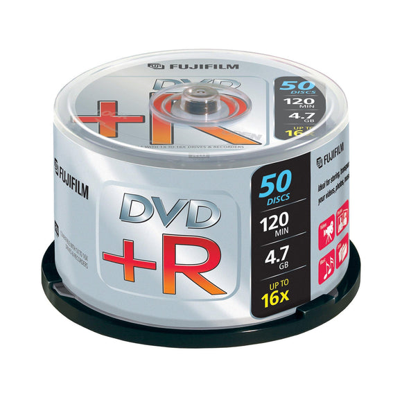 FUJIFILM DVD+R 4.7GB Branded - 50 Cakebox - PMD Magnetics