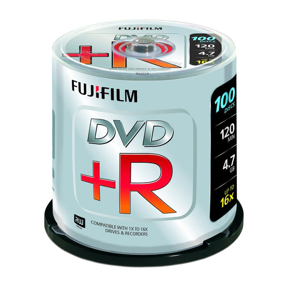 FUJIFILM DVD+R 4.7GB Branded - 100 Cakebox - PMD Magnetics