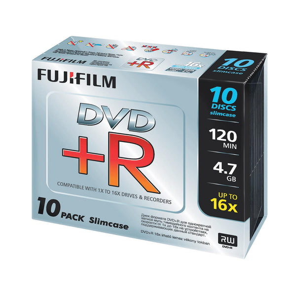 FUJIFILM DVD+R 4.7GB Branded - Slim Case (10 Pack)