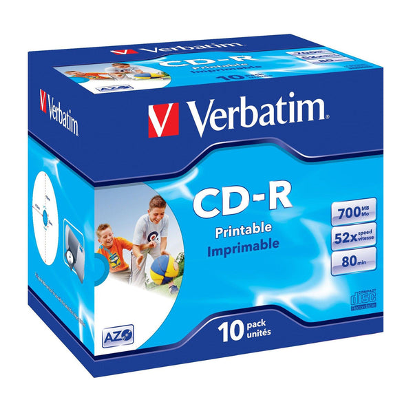 Verbatim CD-R 80 Inkjet Printable - Standard Case (10 Pack)