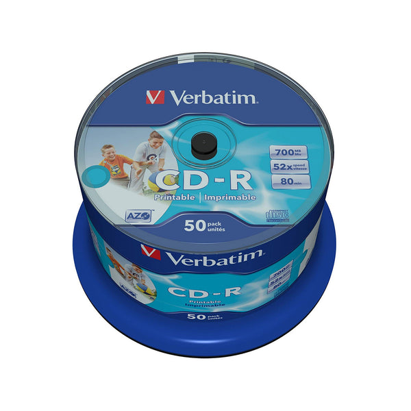 Verbatim CD-R 80 Inkjet Printable - 50 Cakebox - PMD Magnetics