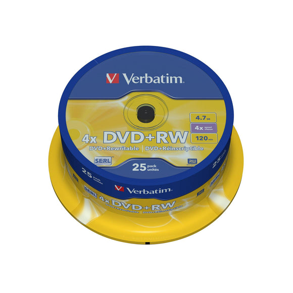 Verbatim DVD+RW 4.7GB Branded - 25 Cakebox - PMD Magnetics