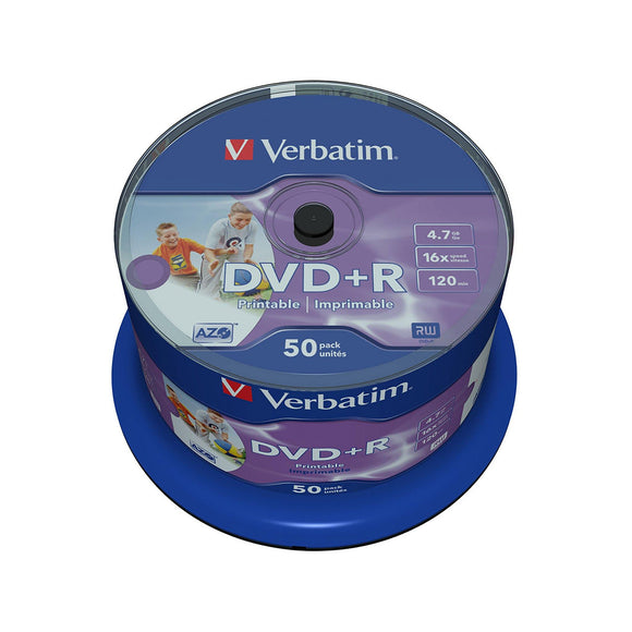 Verbatim DVD+R 4.7GB Inkjet Printable - 50 Cakebox - PMD Magnetics