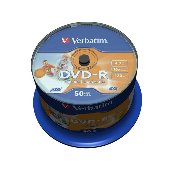 Verbatim DVD-R 4.7GB Inkjet Printable - 50 Cakebox - PMD Magnetics