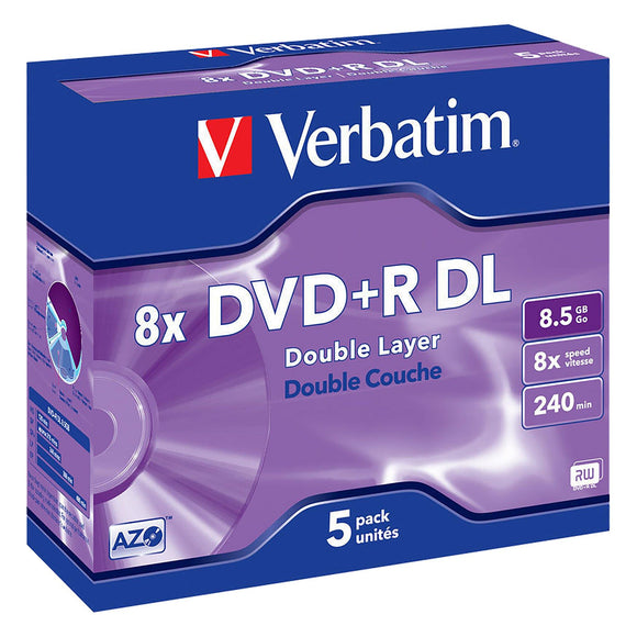 Verbatim DVD+R DL 8.5GB Branded - Standard Case (5 Pack)