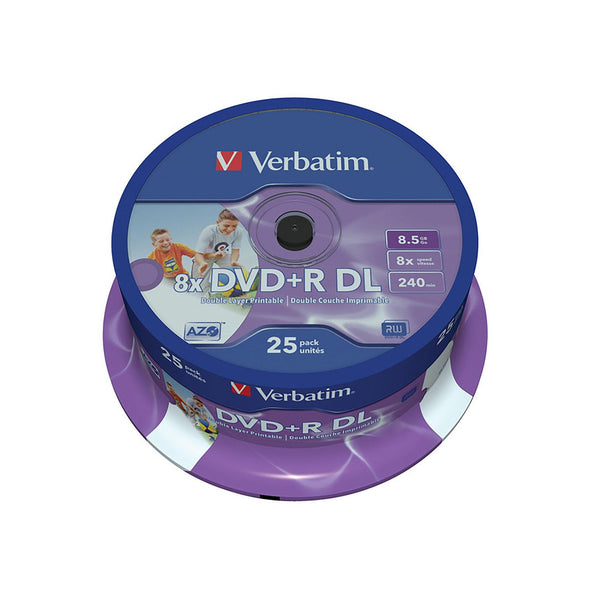 Verbatim DVD+R DL 8.5GB Inkjet Printable - 25 Cakebox