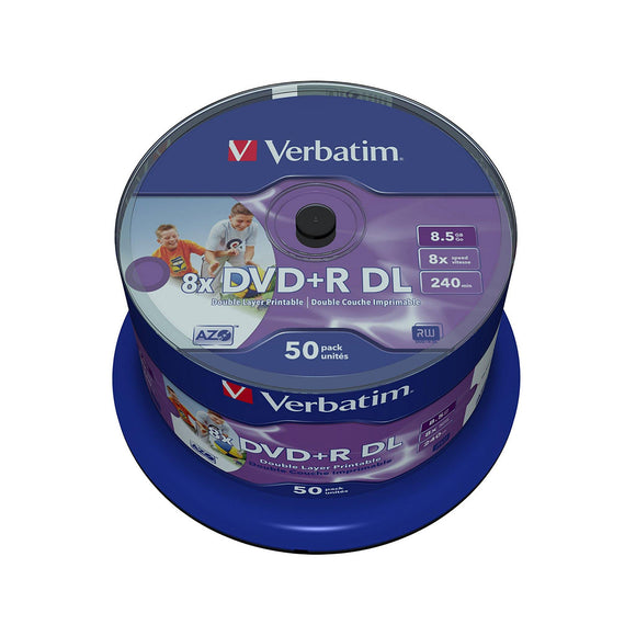Verbatim DVD+R DL 8.5GB Inkjet Printable - 50 Cakebox - PMD Magnetics