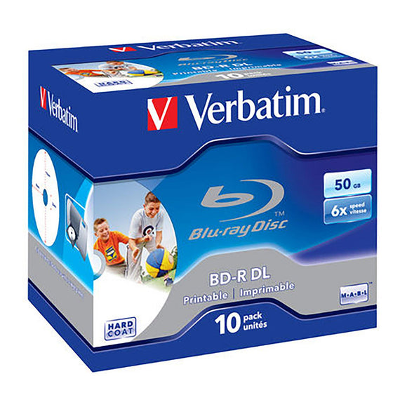 Verbatim Blu-ray BD-R DL 50GB Printable - Standard Case (10 Pack)