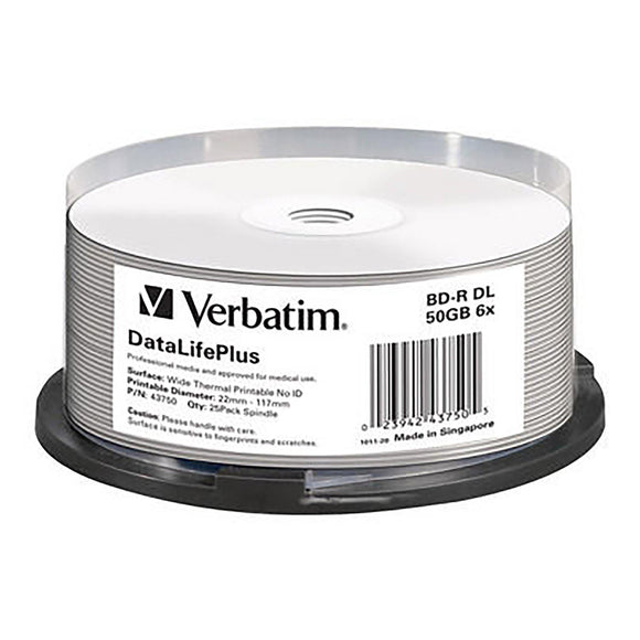 Verbatim Blu-ray BD-R DL 50GB Thermal Printable - 25 Cakebox