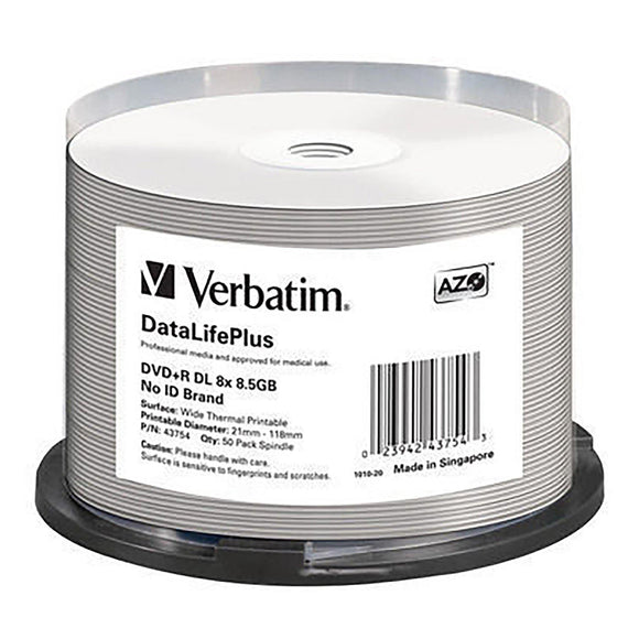 Verbatim DVD+R DL 8.5GB Thermal Printable - 50 Cakebox