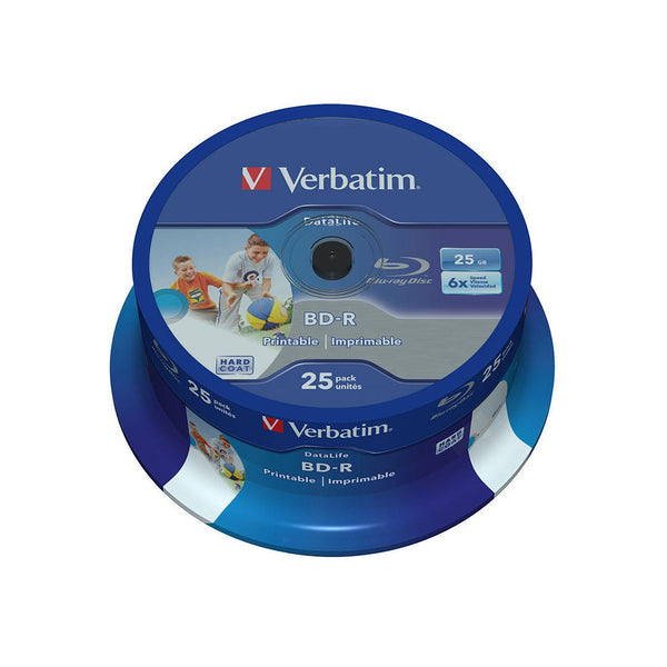 Verbatim Blu-ray BD-R SL Datalife 25GB Printable - 25 Cakebox