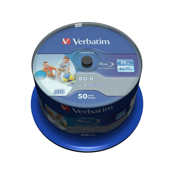 Verbatim Blu-ray BD-R SL Datalife 25GB Printable - 50 Cakebox