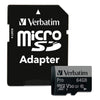 Verbatim MicroSDXC PRO 64GB Memory Card & Adapter