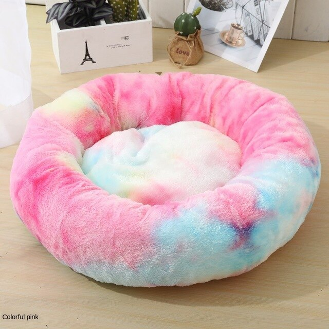 Round Long Velvet Winter Dog Bed - Shopnr1