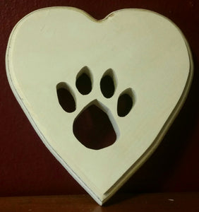 Paw heart plaque