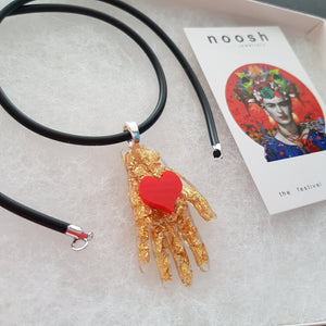 Frida's Hand with Heart Pendant