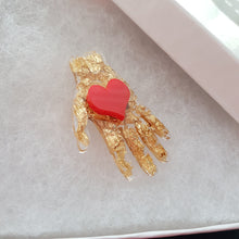 Load image into Gallery viewer, Frida's Hand with Heart Brooch