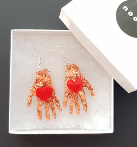 Frida's Hand with Heart Dangles