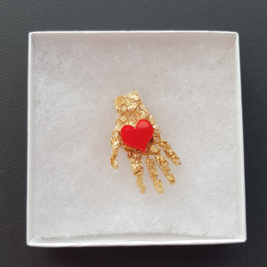 Frida's Hand with Heart Brooch
